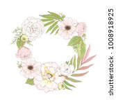 wreath of leaves and flowers... | Shutterstock .eps vector #1008918925