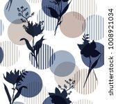 monotone in blue vector botanic ... | Shutterstock .eps vector #1008921034