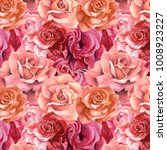 Stock photo roses pattern watercolor flowers background 1008923227