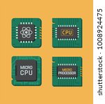 icon set of chips. a processor...