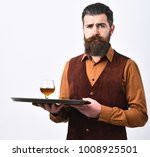 barman in vintage vest with... | Shutterstock . vector #1008925501