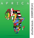 africa continent map with flag...