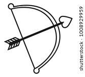 vector black outline cupid bow... | Shutterstock .eps vector #1008929959
