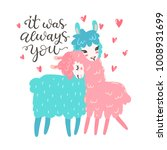 vector greeting card with two... | Shutterstock .eps vector #1008931699