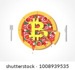 appetizing vector bitcoin pizza ...   Shutterstock .eps vector #1008939535