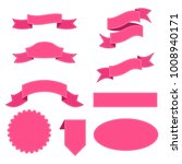 set of pink ribbon for... | Shutterstock . vector #1008940171