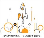 rocket launch ship. startup...   Shutterstock .eps vector #1008951091