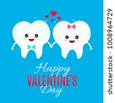 two loving teeth. vector flat... | Shutterstock .eps vector #1008964729