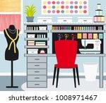 seamstress's office. dressmaker.... | Shutterstock . vector #1008971467