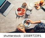 morning time   woman prepare... | Shutterstock . vector #1008972391