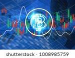 bitcoin symbol and  financial... | Shutterstock . vector #1008985759