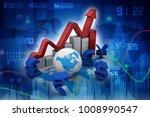 3d rendering global currencies...   Shutterstock . vector #1008990547