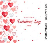happy valentines day   hand... | Shutterstock .eps vector #1008996121