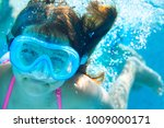 little child underwater in the... | Shutterstock . vector #1009000171