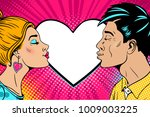 wow couple. happy young man and ... | Shutterstock .eps vector #1009003225