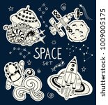 space doodles objects hand... | Shutterstock .eps vector #1009005175