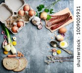 eggs  bread  smoked sausage and ... | Shutterstock . vector #1009005931