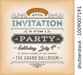 vintage invitation to a party... | Shutterstock .eps vector #1009007191