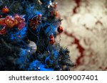 decorated christmas tree with... | Shutterstock . vector #1009007401