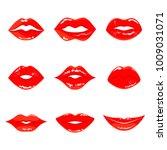 color sensual red lips icon.... | Shutterstock . vector #1009031071