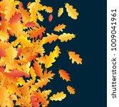 windy flying oak leaf abstract... | Shutterstock .eps vector #1009041961