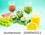 tropical smoothie cocktail... | Shutterstock . vector #1009065511