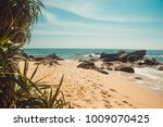 indian ocean coast with stones... | Shutterstock . vector #1009070425