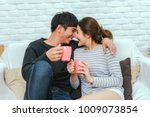 happy asian lover kissing and... | Shutterstock . vector #1009073854