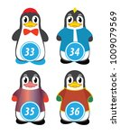 series of penguins numbered... | Shutterstock .eps vector #1009079569