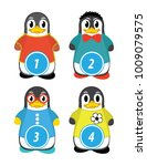 series of penguins numbered...   Shutterstock .eps vector #1009079575