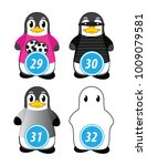 series of penguins numbered... | Shutterstock .eps vector #1009079581