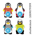series of penguins numbered... | Shutterstock .eps vector #1009079599
