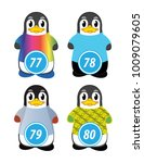series of penguins numbered... | Shutterstock .eps vector #1009079605