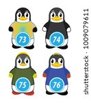 series of penguins numbered... | Shutterstock .eps vector #1009079611