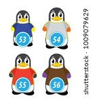series of penguins numbered... | Shutterstock .eps vector #1009079629