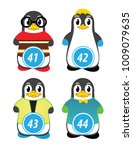 series of penguins numbered... | Shutterstock .eps vector #1009079635