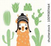 vector illustration of a llama... | Shutterstock .eps vector #1009085464