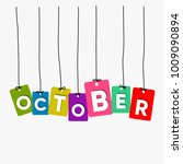 october hanging words vector ... | Shutterstock .eps vector #1009090894