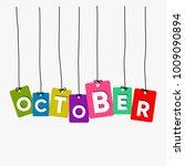 october hanging words vector ... | Shutterstock .eps vector #1009090894