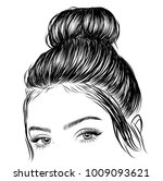 hand drawn beauty woman with... | Shutterstock .eps vector #1009093621