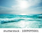 seychelles beach in sunset time ... | Shutterstock . vector #1009095001
