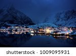 sunset in reine village ... | Shutterstock . vector #1009095931