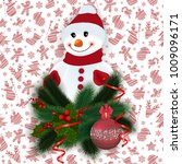 illustration of snowman with... | Shutterstock .eps vector #1009096171