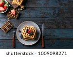 home made belgian waffles...   Shutterstock . vector #1009098271