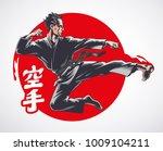 Karate Air Kick. Martial Arts....