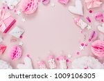 frame made of pink and white... | Shutterstock . vector #1009106305