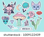 hand drawn trendy stickers.... | Shutterstock .eps vector #1009122439