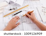 architect drawing architectural ... | Shutterstock . vector #1009126909