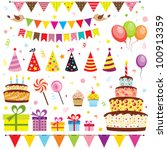 set of vector birthday party... | Shutterstock .eps vector #100913359