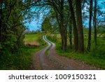 curved dusty road in oak forest ... | Shutterstock . vector #1009150321